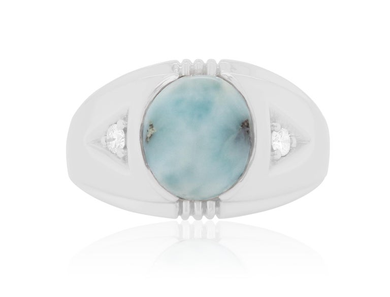 Contemporary 4.25 Carat Opal and White Diamond Men Ring Band 14K White Gold For Sale