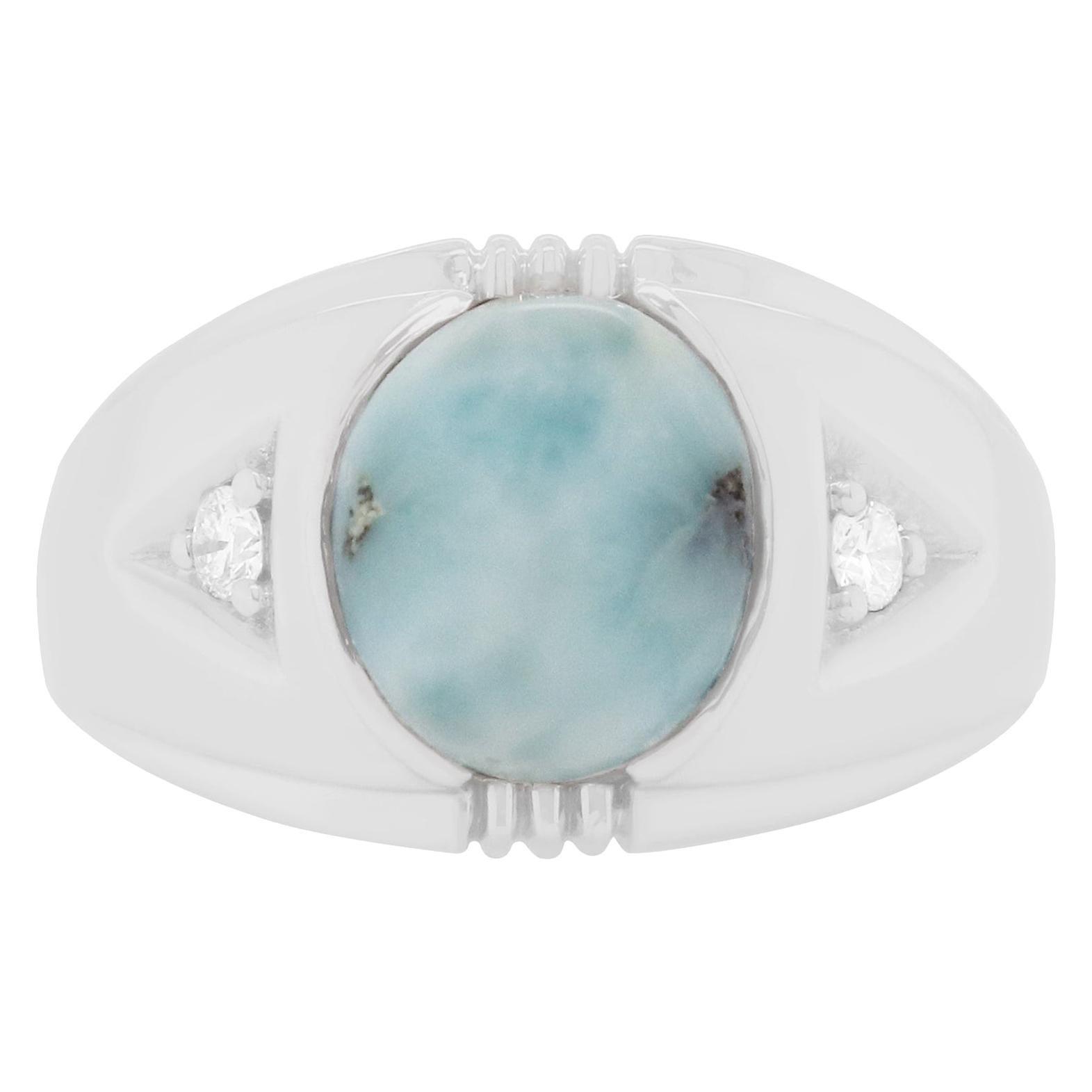 4.25 Carat Opal and White Diamond Men Ring Band 14K White Gold