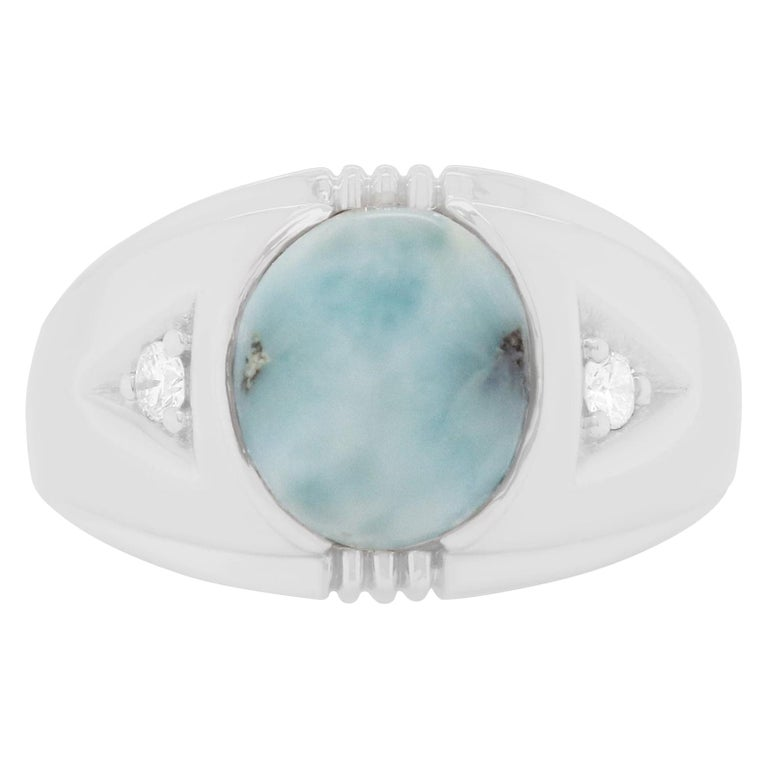 4.25 Carat Opal and White Diamond Men Ring Band 14K White Gold For Sale