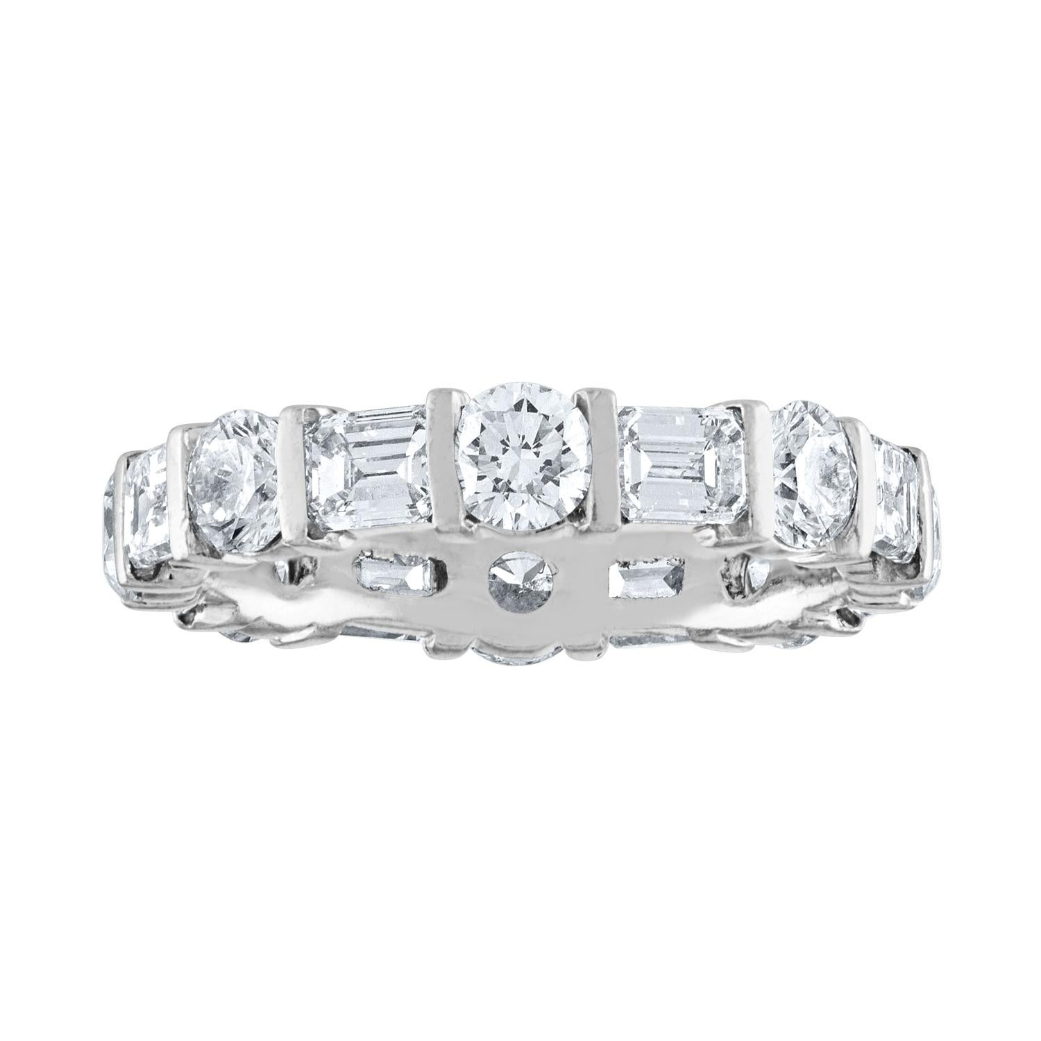 4.25 Carat Round and Emerald Cut Diamond Gold Eternity Band Ring