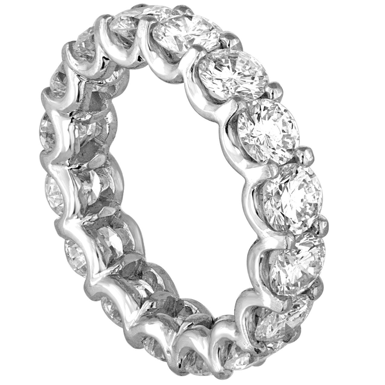 4.25 Carat Round Cut Diamond Platinum Eternity Band Ring