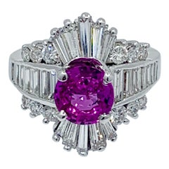4.25 Carat Vivid Natural Pink Sapphire and Diamond Ballerina Cocktail Ring