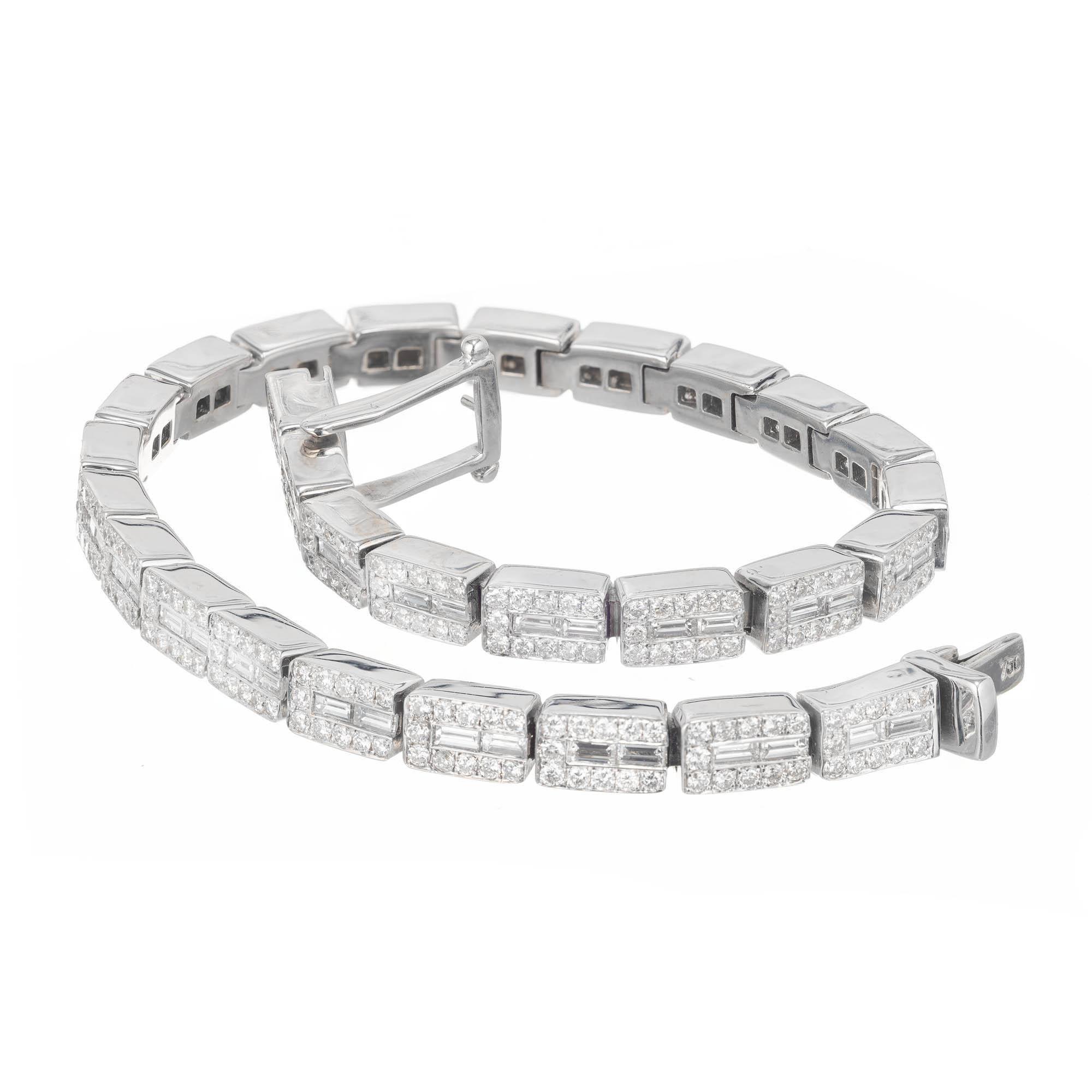 4.25 Carat Baguette Round Diamond White Gold Link Bracelet