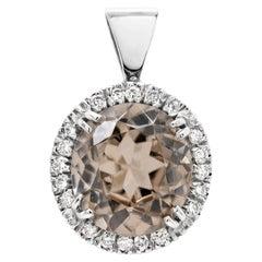 4.25ct Zircon and Diamond 18 Carat White Gold Halo Cluster Pendant