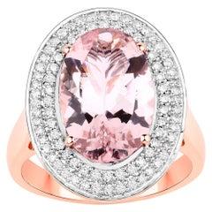 4.26 Carat Morganite and Diamond 14 Karat Rose Gold Cocktail Ring