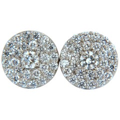 4.26 Carat Natural Round Diamonds Cocktail Cluster Earrings 14 Karat g.vs