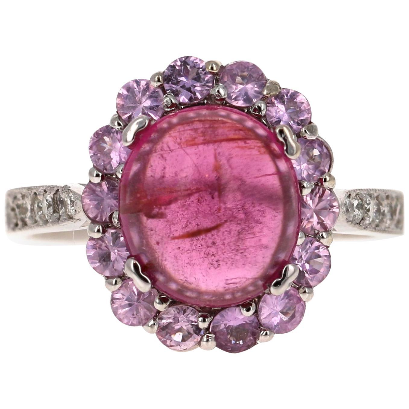 4.26 Carat Pink Tourmaline Sapphire Diamond 14 Karat White Gold Ring
