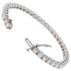 4.26 Carat Total Round VVS Diamond 4 Prong Tennis Bracelet 14 Karat White Gold