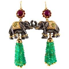42.60 Carat White Diamond Emerald Ruby Tsavorite Yellow Gold Elephants Earrings