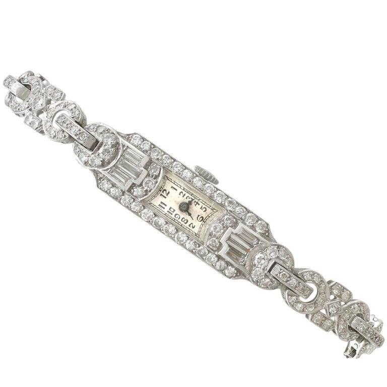 4.26Ct Diamond & Platinum Cocktail Watch - Art Deco Style - Antique Circa 1930
