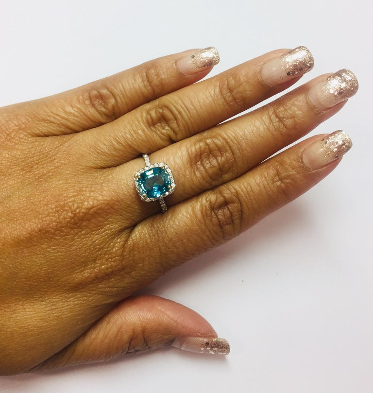 4.27 Carat Blue Zircon Diamond Engagement Ring in 18 Karat White Gold In New Condition For Sale In San Dimas, CA