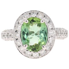 4.27 Carat Green Tourmaline Diamond 14 Karat White Gold Engagement Ring
