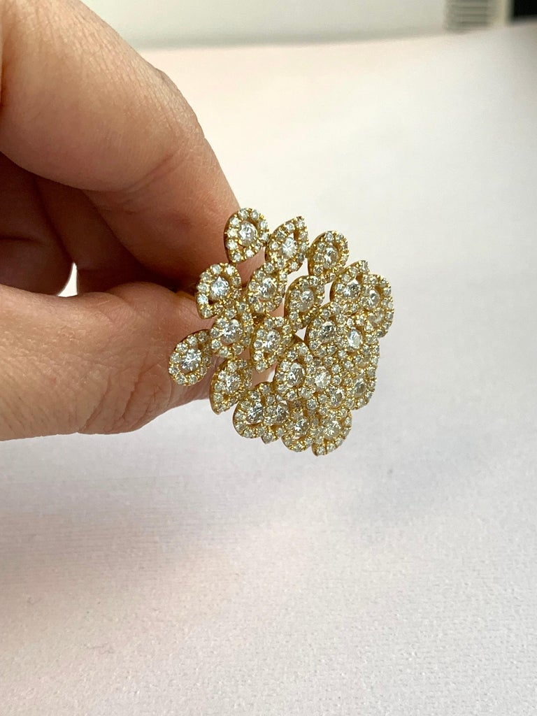 Round White Diamond Pear Shape Halo Fashion Cocktail Ring 18K Yellow Gold For Sale 5