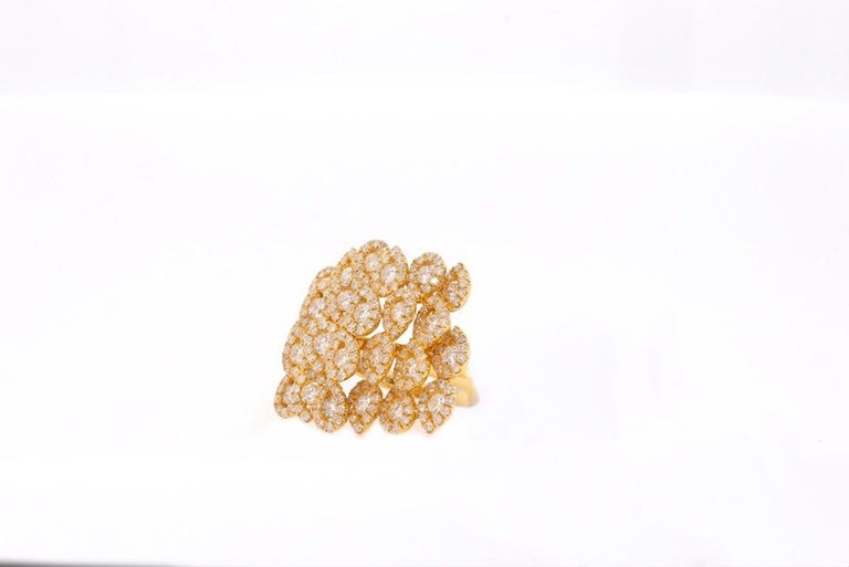 Material: 18K Yellow Gold  Diamond Details: 263 Brilliant Round White Diamonds Approximately 4.27 Carats - Clarity: SI / Color: H-I Ring Size: 6.5. Alberto offers complimentary sizing on all rings.  Fine one-of-a-kind craftsmanship meets incredible