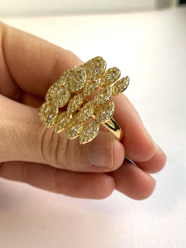 Round White Diamond Pear Shape Halo Fashion Cocktail Ring 18K Yellow Gold For Sale 3