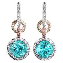 4.27 Carat Neon Paraiba Tourmaline White & Pink Diamond Halo Charm Earrings