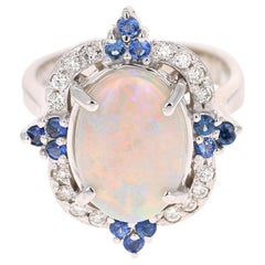 4.27 Carat Opal Blue Sapphire Diamond 14 Karat White Gold Ring