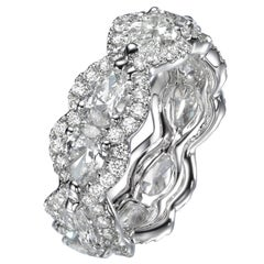 4.27 Carat Pear Shape Diamond 18 Karat White Gold Eternity Bang Ring