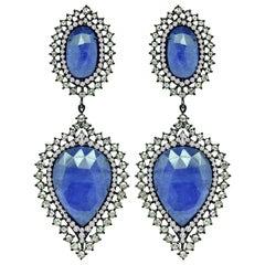 42.72 Carat Tanzanite Diamond 18 Karat Gold Earrings