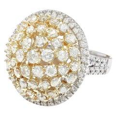 4.28 Carat Diamond 18 Karat Solid Two-Tone Gold Ring