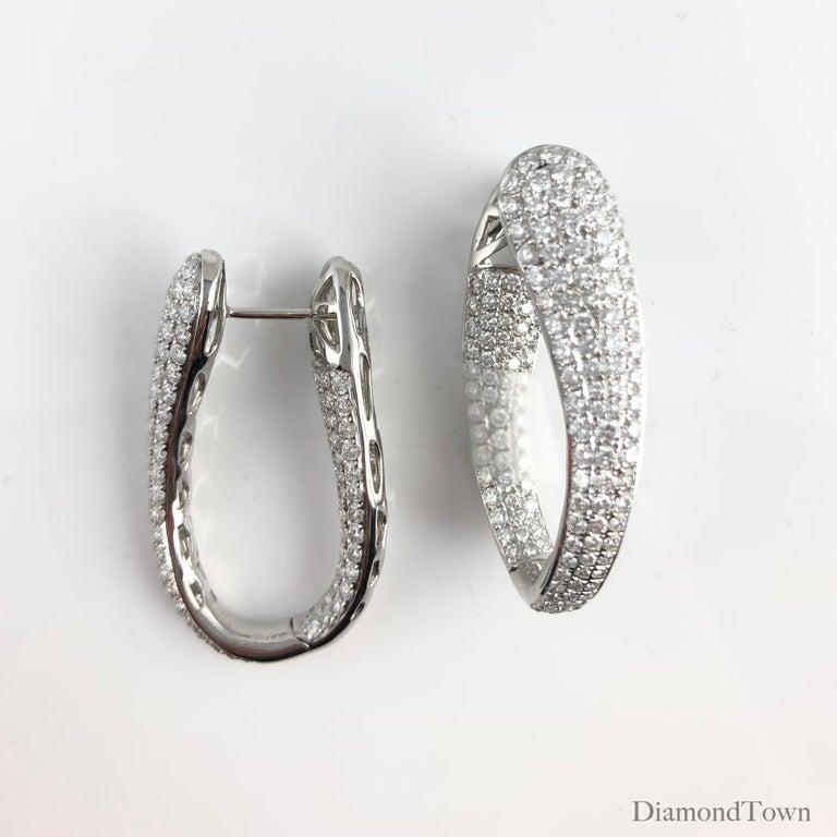 Contemporary 4.28 Carat Diamond Hoop Earrings by DiamondTown in 18 Karat White Gold For Sale