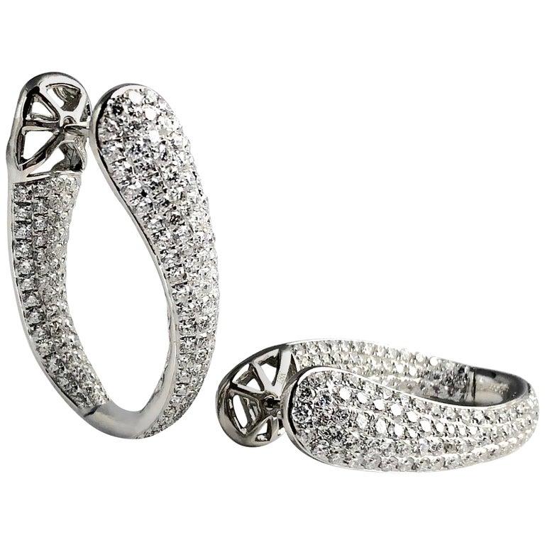 4.28 Carat Diamond Hoop Earrings by DiamondTown in 18 Karat White Gold For Sale