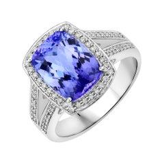 4.28 Carat Genuine Tanzanite and White Diamond 14 Karat White Gold Ring