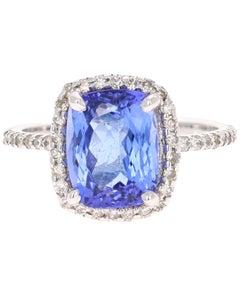 4.28 Carat Tanzanite Diamond 14 Karat White Gold Ring