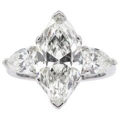 4.29 Carat Estate Vintage Marquise Diamond 3-Stone Wedding Platinum Ring