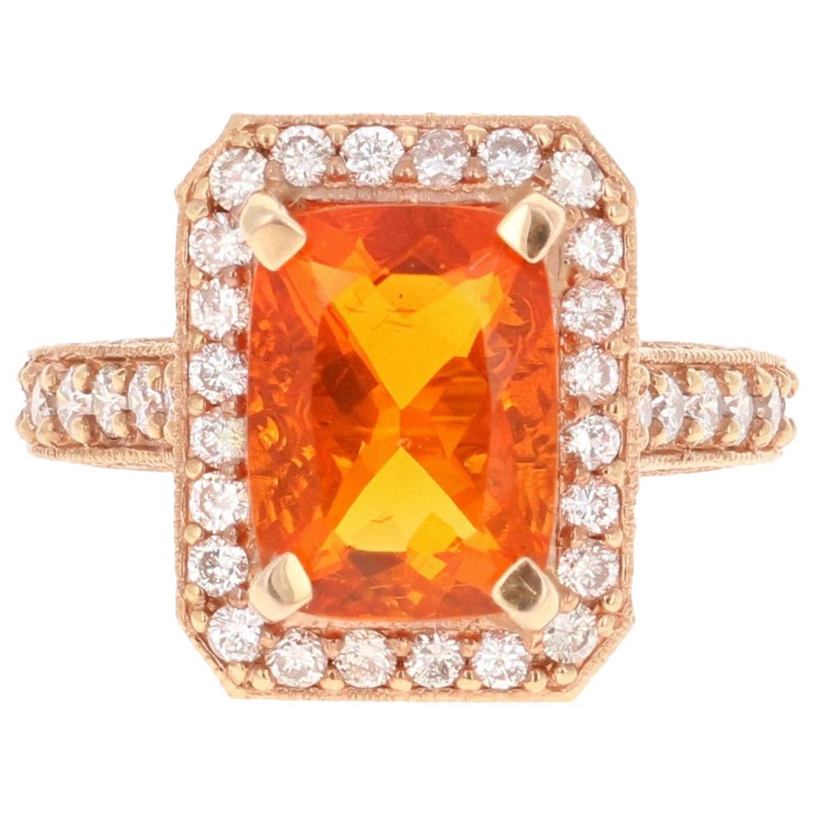 4.29 Carat Fire Opal Diamond 14 Karat Rose Gold Cocktail Ring