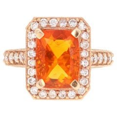 4.29 Carat Fire Opal Diamond 14 Karat Rose Gold Cocktail Ring