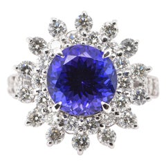 4.29 Carat Natural Tanzanite and Diamond Ring Set in Platinum