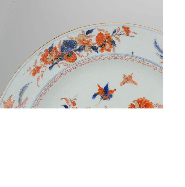 Large Antique Kangxi Fish, Butterflys Plate Imari Color Chinese, circa 1700 For Sale 1