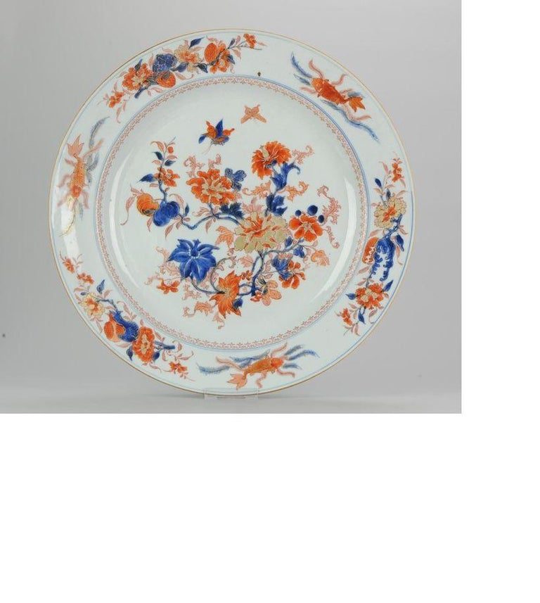 Large Antique Kangxi Fish, Butterflys Plate Imari Color Chinese, circa 1700 For Sale 2