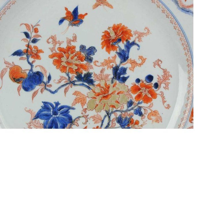Large Antique Kangxi Fish, Butterflys Plate Imari Color Chinese, circa 1700 For Sale 3