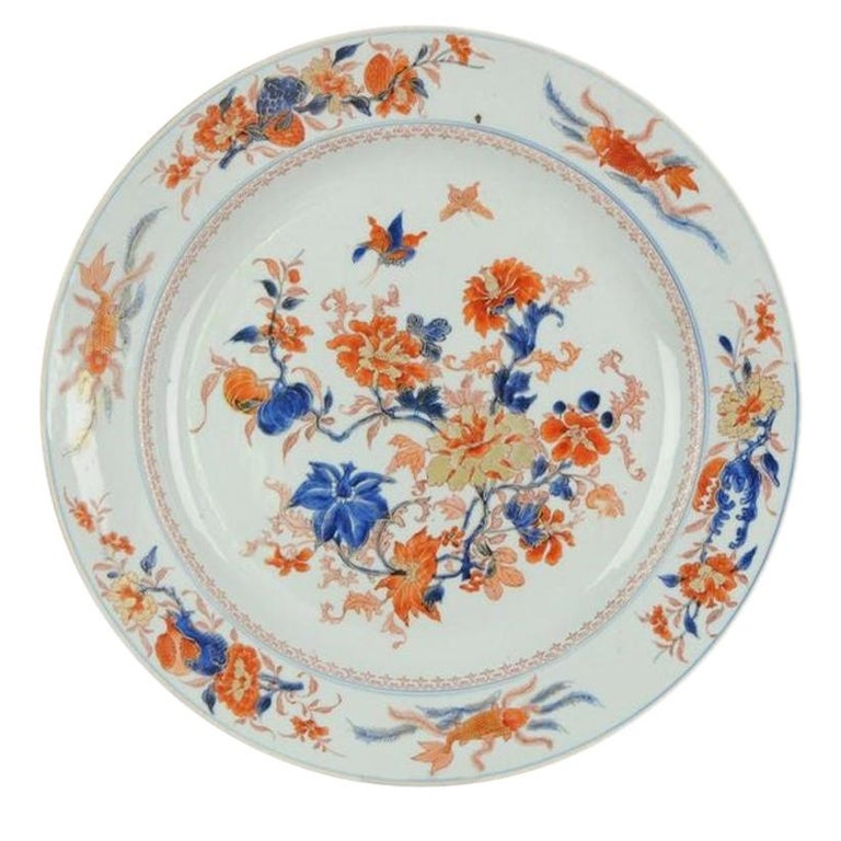 Large Antique Kangxi Fish, Butterflys Plate Imari Color Chinese, circa 1700 For Sale