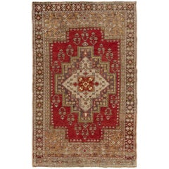 Mid-Century Hand-Knotted Tribal Rug in Soft Colors, 100% Wool Carpet
