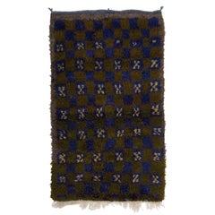 Vintage Checkered Tulu Rug, 100% Wool, Khaki Green, Blue, Gray, Beige