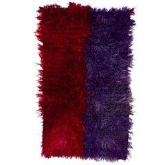 4.2x7 Ft Handmade Vintage Shag Pile Tulu Rug in Red and Violet Blue Color