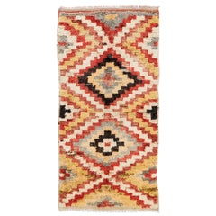 """Multicolor Hand-Knotted Vintage """"Tulu"""" Runner Rug with Geometric Design"""