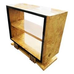 Burled Wood Art Deco Style Bookshelf