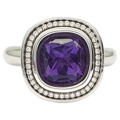 4.3 Carat Carre Antique Cut Amethyst Ringpart 18 Karat Gold, 41 H&A Cut Diamonds