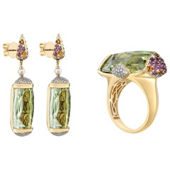 43 Carat Green Amethyst and Diamond Ring and Earring Set in 18 Karat Yellow Gold