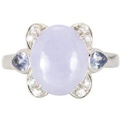4.3 Carat Lavender Jadeite Ring with 1.02 Carat of Tanzanite and Diamonds Set