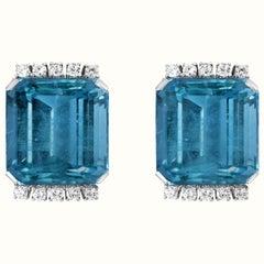 43 Carat Natural Aquamarine and Diamond Cocktail Earring, 18 Karat White Gold