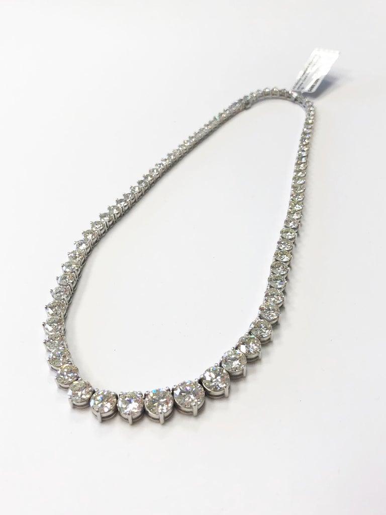 Round Cut 43 Carat Riviera Necklace in 18 Karat White Gold For Sale