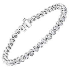43 Round Diamond 16-17 Pointer Each Tennis Bracelet in 14 K White Gold 7 Carat