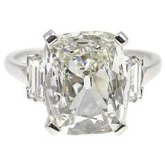 4.30 Carat Antique Cushion Cut Art Deco Diamond Platinum Engagement Ring
