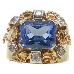 4.30 Carat Antique Yellow Pink Gold Diamond Topaz Ring