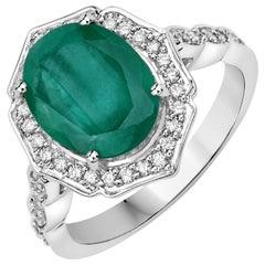 4.30 Carat Brazilian Emerald and Diamond 14 Karat White Gold Cocktail Ring